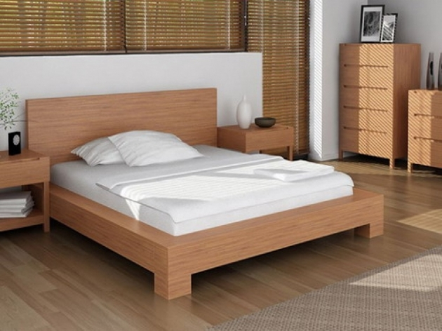 Bed Frame With Headboard Furniture Cream Plywood Veneer Bed Frame With Short Legs Using White Blanket And Bed Sheet Picture 75