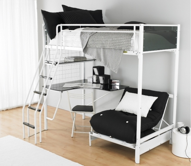Bunk Bed With Desk Black And White Bedroom Picture 17