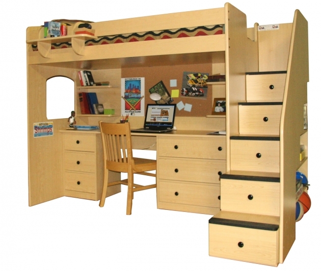 Bunk Bed With Desk Elegant Wooden Designs Images 07