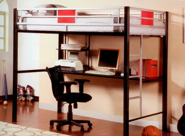 Bunk Bed With Desk Gray Polished Steel Pipe Loft Bunk Bed With Open Shelves Photos 67