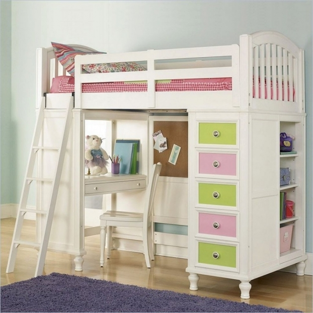 Bunk Bed With Desk White Furniture Photos 85