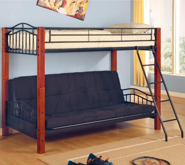 Futon Bunk Bed Coaster Haskell Metal And Wood Casual Twin Over Pics 15