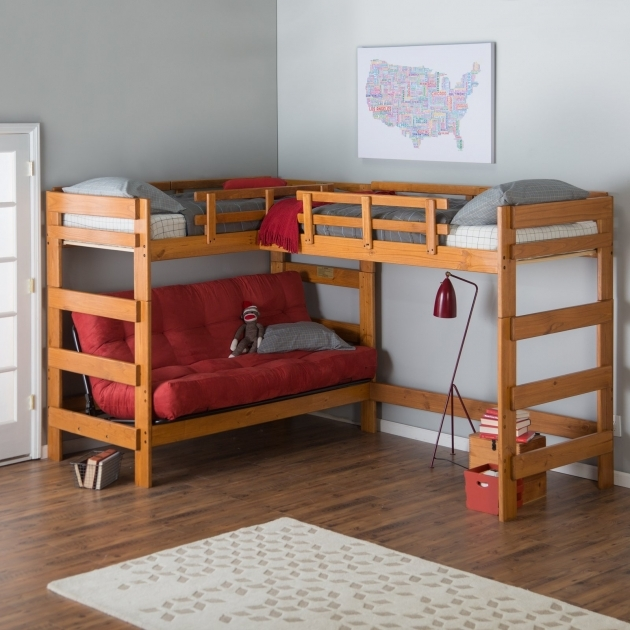 Futon Bunk Bed Woodcrest Heartland With Extra Loft Honey Pine Pics 30