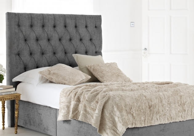 Headboards For Full Size Beds Gray Velvet Full Size Bed Frame With Tufted Backboard Using White Bed Linen And Gray Blanket Photo 17