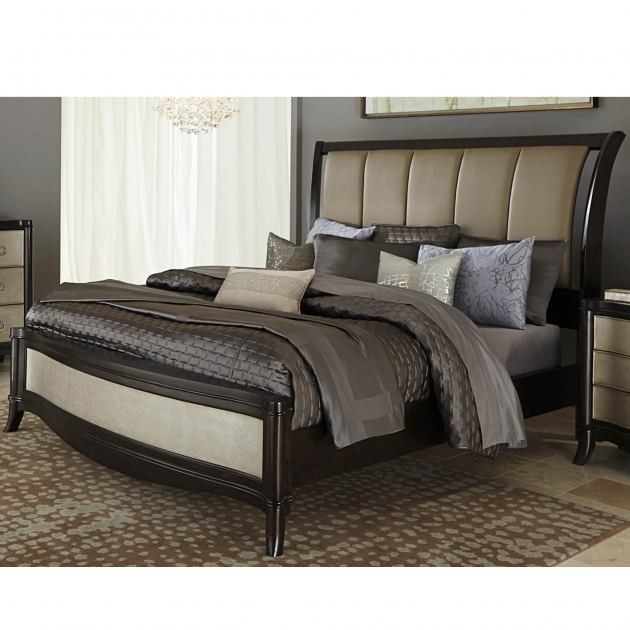 King Upholstered Headboard Sleigh Bed Set Image 11
