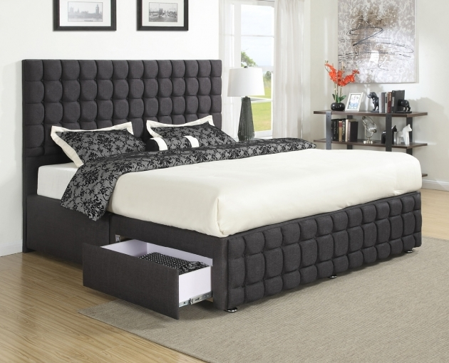 Queen Size Bed Frame Black Linen With Storage Oak Hardwood Flooring Drum Shade Table Lamp Pics 06