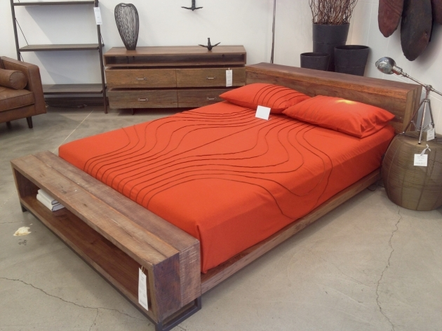 Queen size bed frame furniture brown wooden with headboard - Cool queen bed frames ...