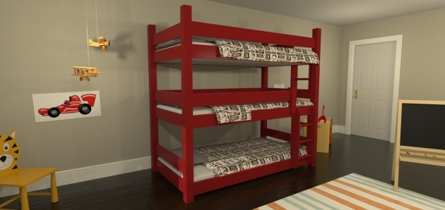 Triple Bunk Bed Simple Wood Furniture For Kids Bedroom Image 93