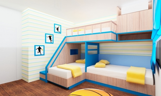 Triple Bunk Bed With Cabinet Storage And Plywood Veneer For Kids Cream Polished Maple Wood Murphy Bunk Bed Pictures 53