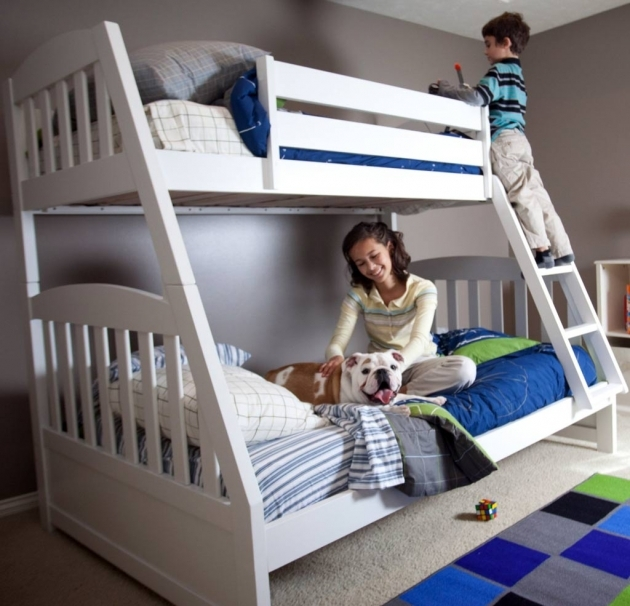 Twin Over Full Bunk Bed Painting White Picture 81