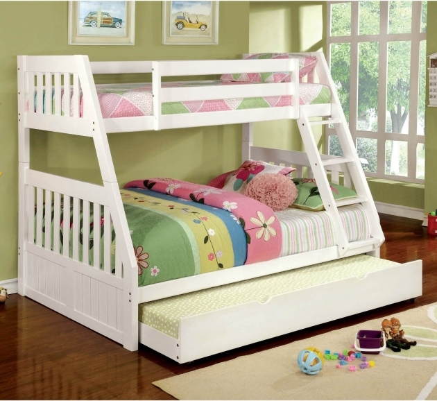 Twin Over Full Bunk Bed White Home Style Pic 53