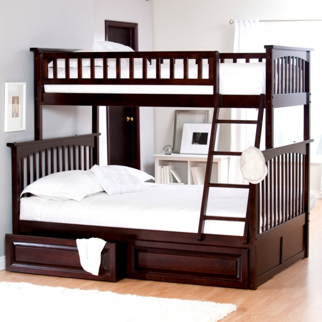 Twin Over Full Bunk Bed Wood Dark Photo 43