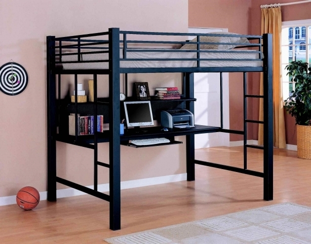 Black Full Size Metal Loft Bed With Desk  Modern Furniture Apartments Decor Photos 74