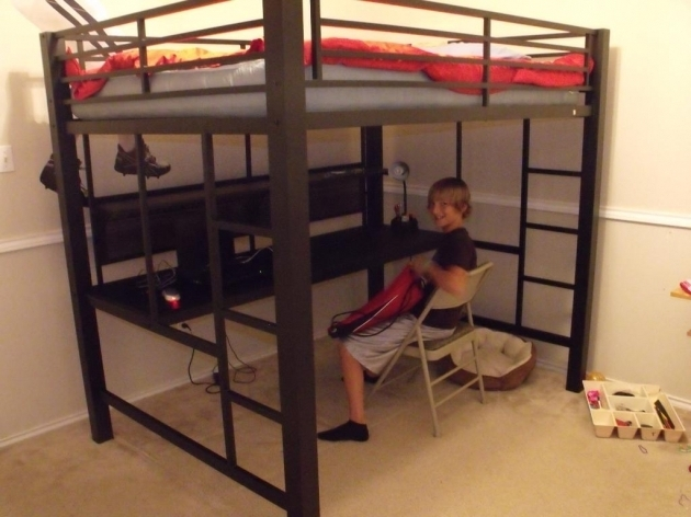 Black Full Size Metal Loft Bed With Desk Underneath Pictures 96