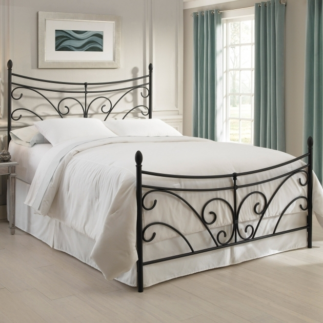 Black Iron Bed Frame With White Bedding Set Placed Metal Headboards For Double Bed Photo 59
