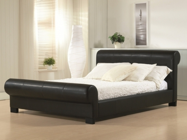 Black Leather Upholstered Sleigh King Size Bed Frame With Headboard And Footboard Attachments Image 41