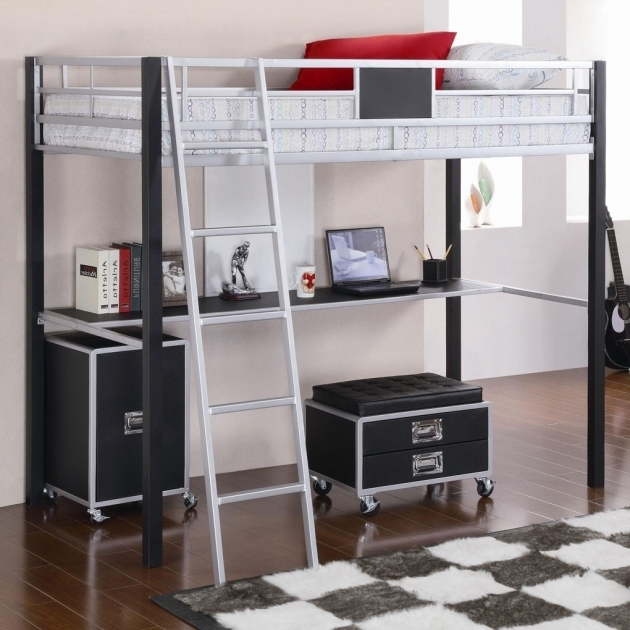 Bunk Bed With Table Underneath Study Desk Photo 21