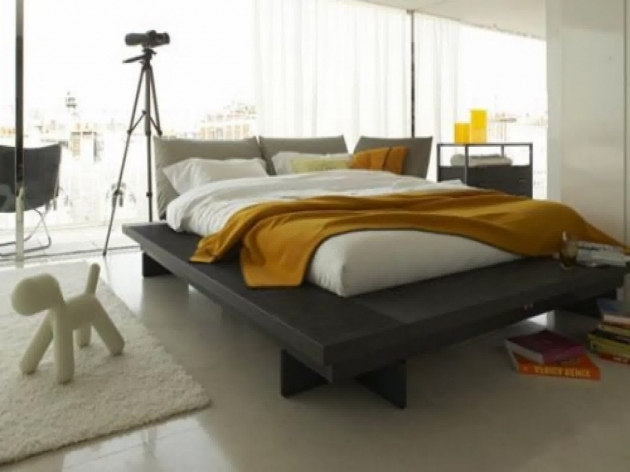 Cheap Platform Bed Frame Queen Size Dark Walnut Low Profile Design Photo 68