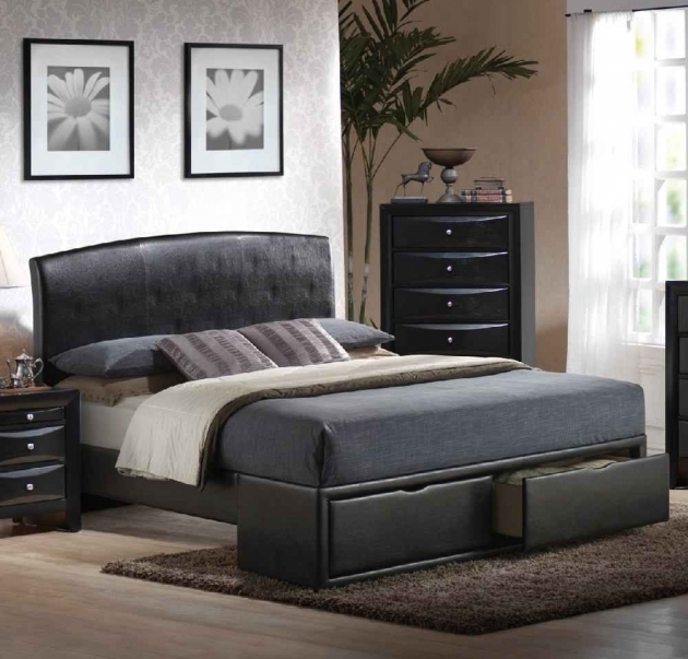 Cheap Queen Headboards Bedroom Sets Design With Black Leather Bed Frame And Functional Drawer Built In Photos 51