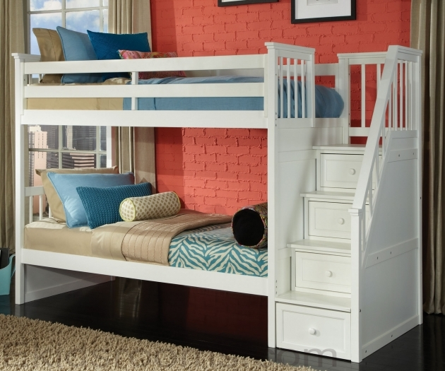 Classic White Bunk Beds With Stairs Photos 63