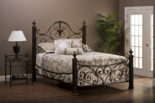 Dark Brown Wrought Iron King Metal Bed Frame Headboard Footboard With Carved Accent Pictures 17