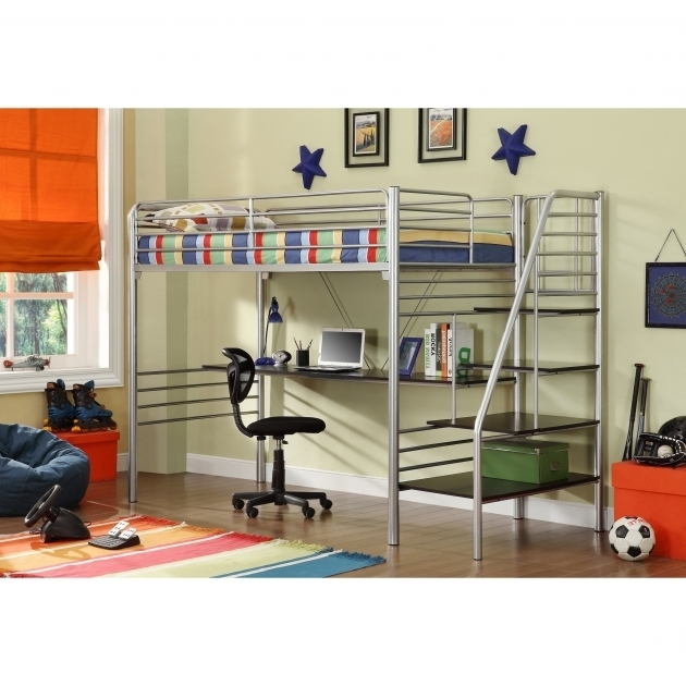 Donco Kids Twin Full Size Metal Loft Bed With Desk Picture 57