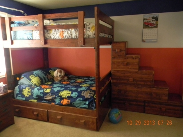 Full Over Full Bunk Beds Custom With Drawers And Stairs Treasure Images 89