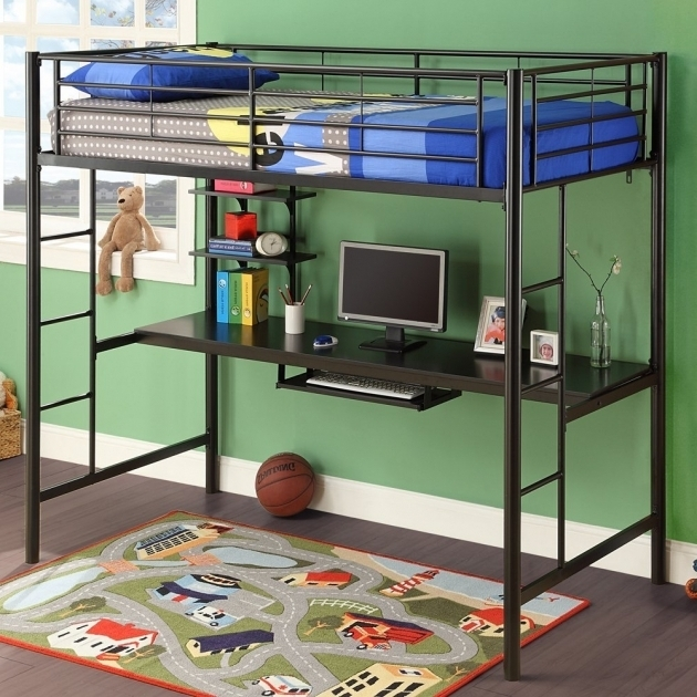 Funky Black Metal Bunk Bed With Table Underneath / Desk  Photos 35