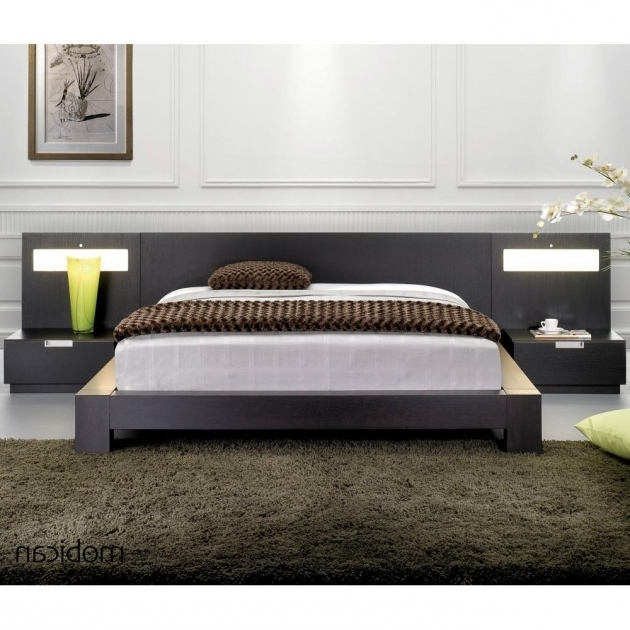 Furniture Bedroom Asian Platform Bed Dark Brown Furry Rug And Grey Sheet Platform Bed Photo 46