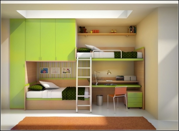 Green And Cream Solid Wood Twin Bunk Bed With Table Underneath And Wardrobe Also Small Chest Of Drawer Photos 33