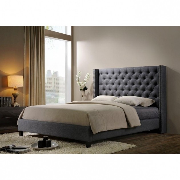 Grey Upholstered Platform Bed Altos Home Pacifica Fabric King Size Tufte Photos 13
