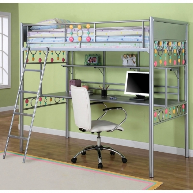 Kids Metal Bunk Bed With Table Underneath Desk Images 00