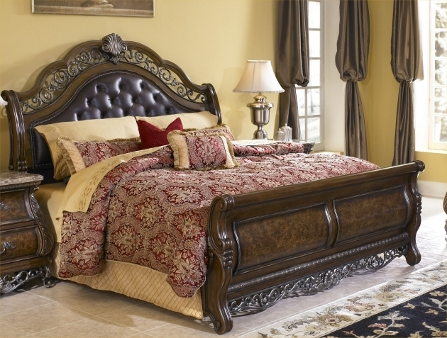 King Size Bedroom Sets With Full Size Headboard And Footboard Sets Mattress Dark Brown Varnish Image 52
