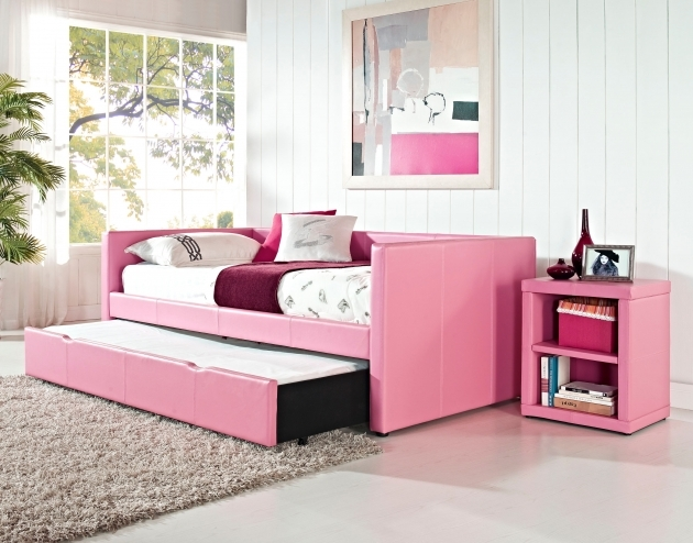 Lindsey Daybed With Trundle Underneath Pink Bed 66490 Pink Storage Cube Photos 85