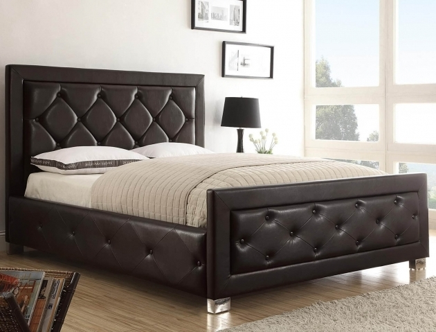 Low Profile Platform Bed With Queen Size Brown Walnut Spring Box Full Size Headboard And Footboard Sets Image 08