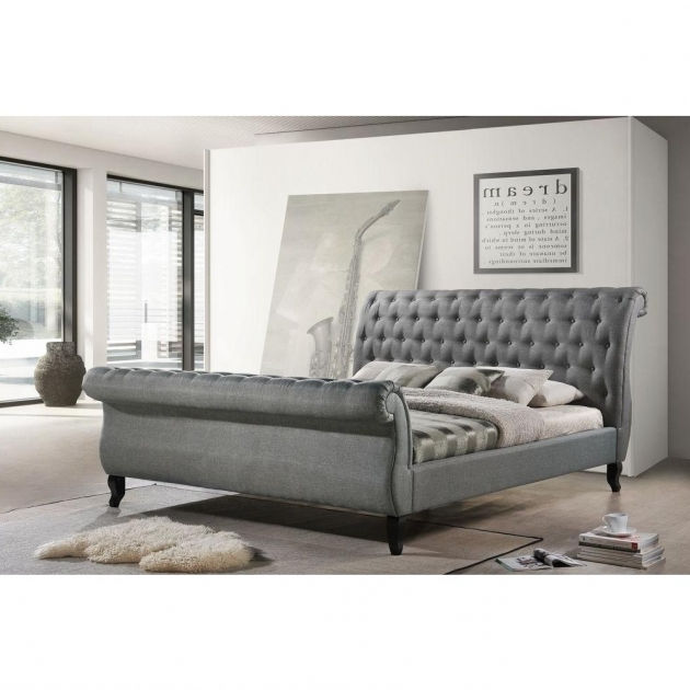 Luxeo Nottingham Fabric King Size Tufted Sleigh Grey Upholstered Platform Bed Photo 69