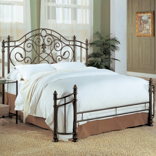Metal Bed Frame And Full Size Headboard And Footboard Sets With Excellent Aesthetic Look Matched With White Cover Images 91