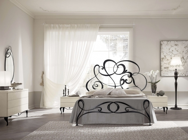 Metal Headboards For Double Bed New Baroque Design Cream Wrought Iron Bedstead With Storage Pictures 87