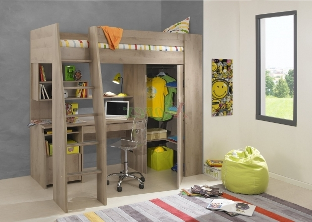 Modern Boys Kids Full Size Wooden Bunk Bed With Table Underneath Desk  Photos 28