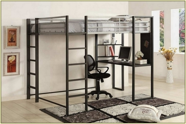 Modern Full Size Metal Loft Bed With Desk Images 10