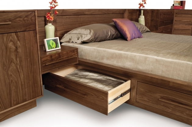 Moduluxe Storage Bed Open Drawer Walnut Headboard With Nightstand Attached Photo 55