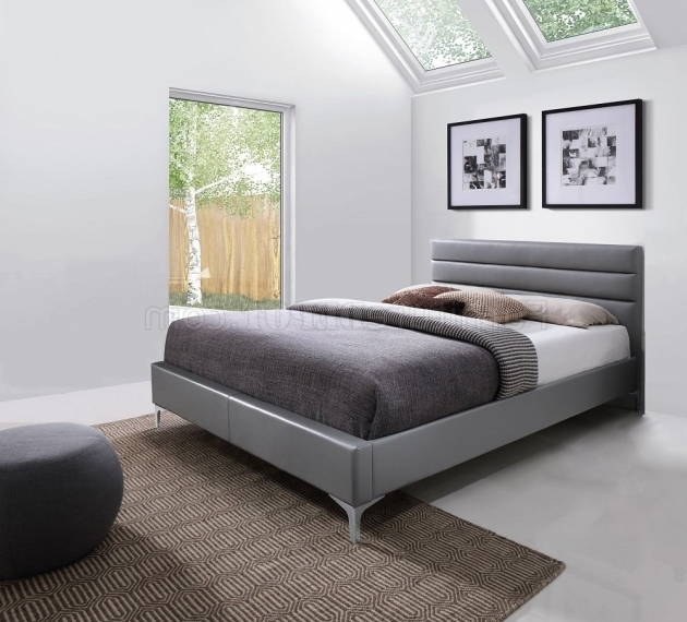 Nario Grey Upholstered Platform Bed Photos 36