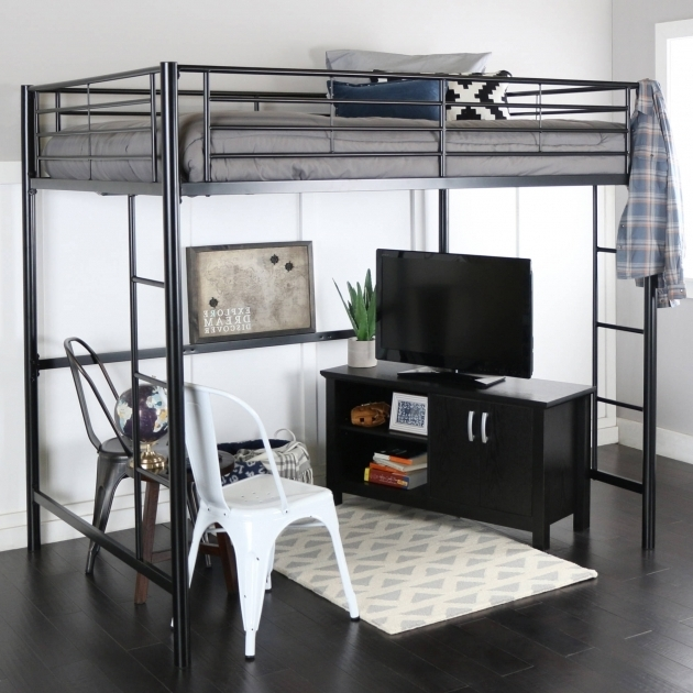 Premium Full Size Metal Loft Bed With Desk Picture 84