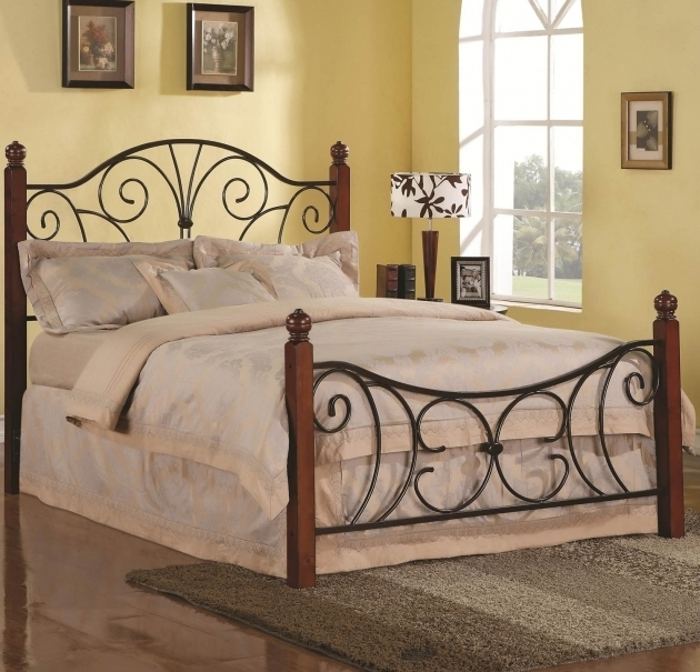 Rustic Metal Bed Frames Brown Wooden Mixed Black Iron Based Bed Frame With Finials Accent Photo 76