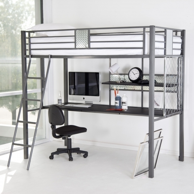 Sleeper Beds Full Size Metal Loft Bed With Desk Adjustable Height Chair Plummers Bedding Furniture  Picture 14