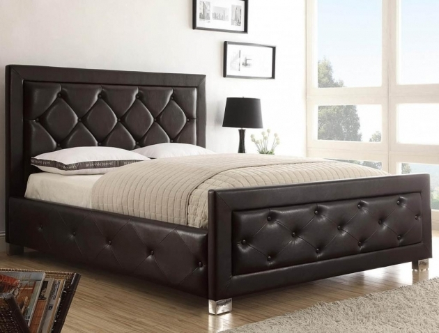 Low Profile King Bed Frame With Grey Upholstered Headboard