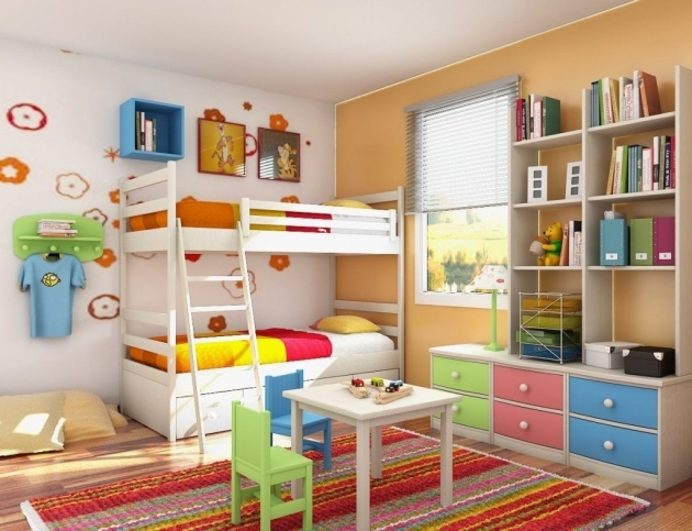 White BUnk Beds For Kids With Colorful Bedroom Decor  Photo 84