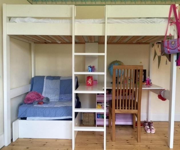 White Polished Pine Wood Loft Bunk Bed With Table Underneath And Chaise Lounge Picture 46