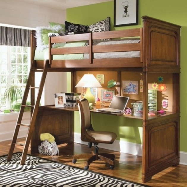 Wood Bunk Bed With Table Underneath With Desk Plans  Picture 26