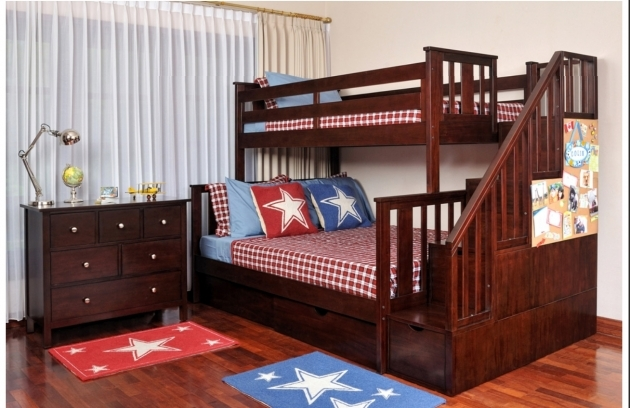 Wood Bunk Beds With Stairs In Brown With Storage On Wooden Floor Matched Photo 65